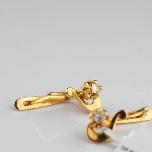 Kõrvarõngad 585 kuld, briljandid 2tk 0,13ct - tootel sertifikaat