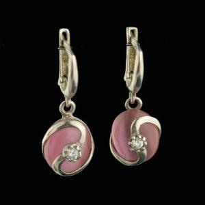 Kõrvarõngad 925 hõbe, roosa kvats