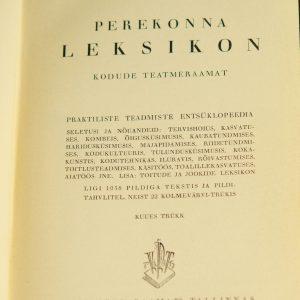 Raamat-Perekonna leksikon,kodune teatmeraamat 1937a,Tallinn