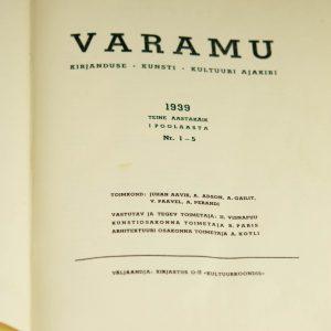 Kultuuri ajakirja Varamu 1939 aastakäik Tallinn,2 köidet