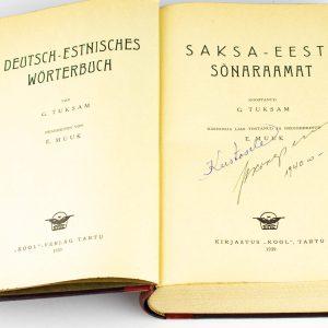 Taska köites Saksa-Eesti sõnaraamat 1939a