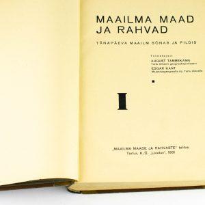 Taska köites raamat Maailma maad ja rahvad I 1931a