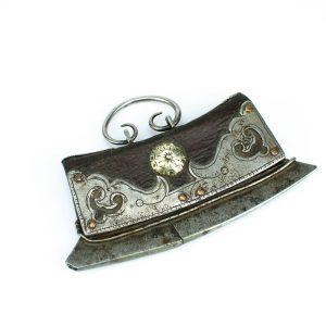 Antiikne 17 saj. tuleraud-tasku, metall, nahk