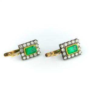 Tsaari-Vene kõrvarõngad, 56 kuld, smaragtid 2,7ct ja 28 briljanti=1,5ct