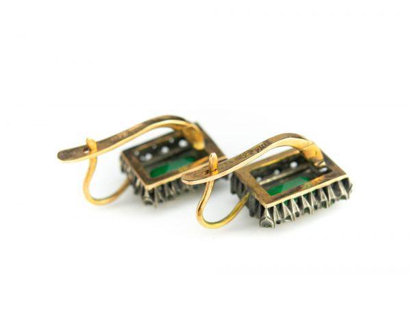 Tsaari-Vene kõrvarõngad, 56 kuld, smaragdid 2,7ct ja 28 briljanti=1,5ct