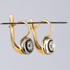 Tsaari-Vene kõrvarõngad, 56 kuld, briljandid 0,24 ja 0,23ct
