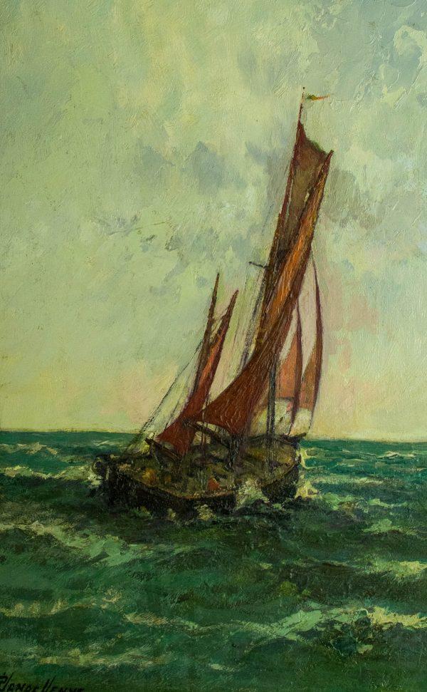 Antiikne õlimaal kuldses raamis Meri ja purjekas