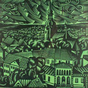 Tõnis Laanemaa Tallinn,vaade Niguliste tornist I,1969a linoollõige 66/100