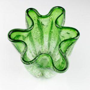 Tarbeklaasi roheline vaas ŽABOO II,Pilvi Ojamaa 1987a