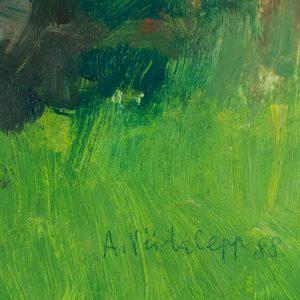 Ants Viidalepp (1921-2012) Kadakad,õli,papp 1988a