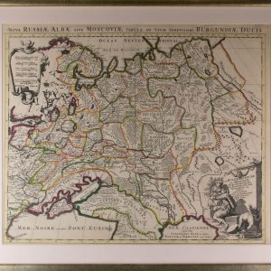 Antiikne maakaart-Nova Russia Alba Moscovia Tabula,Ad Serenissimi burgundia Ducis 18 saj.