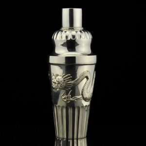 Antique Chinese silver cocktail shaker, dragon relief